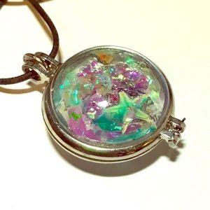 Resin seascape glass locket